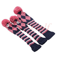 headcovers de golf achat en gros de-1 3 5 one ensemble NOUVEAU Pom Pom Head Couvre Knit Sock Golf Club Cover Headcovers