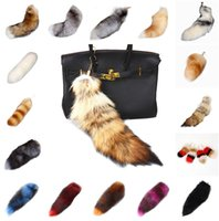 Wholesale Real Fox Tails - Real Rabbit Fox Tail Fur Ball Key Chains Poms Plush 25 Styles Keychain Car Keyring Bag Earrings Accessories