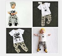 Wholesale Boys 24 Months Pajamas - Wholesale ins Boys Girls Baby Childrens Clothing Sets Cotton tshirts Harem Pants Set Cartoon Printed Pajamas Leggings Outfits Kids Clothes