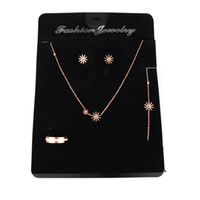 Wholesale Display Cards For Necklaces - High Quality Jewelry Packing Card 100pcs lot 14cmx19cm Black Velvet Rings Bracelet Necklace Earring Card Display For Jewelry Set Showcase