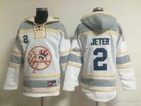 Wholesale Cheap Sweatshirts Free Shipping - 2016 Newest Wholesale Men's New York Yankees #2 jeter White Hoodies Sweatshirts Jersey, Free Shipping Cheap jerseys Size M-XXXL