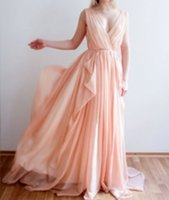 Wholesale Simple Flowing Wedding Dresses - Orange Pink Wedding Dress Beach Flowing Chiffon Drafts Pleated Colored Bridal Gowns Custom Made Outdoor Garden Bride Dresses Simple Casual