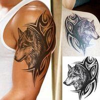 Wholesale Tattoo Stickers Brands - Brand New Large Wolf Head Waterproof Temporary Removable Tattoo Body Arm Leg Art Sticker Free Shipping [JC07095]