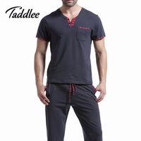 мужские рубашки оптовых-Wholesale-Men T Shirt Cotton Pajama Set Sleepwear Sleep Bottoms Yoga Long Pants Pajama Tees Undershirts Tshirts  Casual Short Sleeve