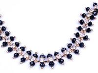 Wholesale Rhinestone Beaded Trim Crystals - Newest costum trim crafts gold handmade rhinestone crystal chain with Black beaded applique sew on garment