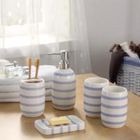 Wholesale White Dish Sets - Europe Ceramic Toothbrush Holder Dispenser Soap Dish Bottle Blue White Striped Creative Couple Bathroom Accessories Sets