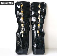 """Wholesale Yellow Sexy Boots - Free shipping Man New Ballet Shoes 18cm 7"""" Super High Heels Wedges Hoof Heelless Fashion Sexy Fetish Slave 10keys Lockable Knee High Boots"""