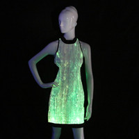 xs sexy kostüme großhandel-LED Leuchten Kleider Glow in the Dark Brautjungfer Kleider Cheongsam Sleeveless Cocktail Abend Party Kleid Neueste Jazz Kostüme