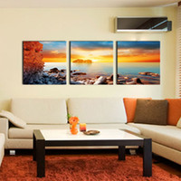 Wholesale Sunrise Painted Walls - 3 Pieces Canvas Wall Art Modern Paintings Sea Sunrise Waves Landscape Pictures Prints on Canvas for Home Decoration Wooden Framed to Hang