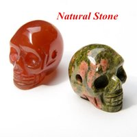 Wholesale Turquoise Black Stone Necklace - Natural Stone Skull Pendant Necklaces Men Women Turquoise Gemstone Agate Quartz Crystal Skeleton Pendants With Chain Mixed Colors