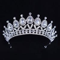 boncuklu saç tiaraları toptan satış-Lüks Gümüş Kristaller Düğün Taçlar Boncuklu Gelin Tiaras Rhinestone Kafa Adet Kafa Ucuz Saç Aksesuarları Pageant Taç