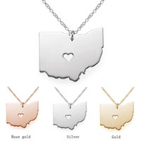 Wholesale Wholesale State Shaped Necklaces - Fashion Ohio State Cartographic Charm, 18K Rose Gold State OH pendant In Shape with A Heart Custom Necklace State Wholesale necklace