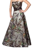 Wholesale Strapless Maternity Bridesmaid Dresses - Cheap Camo Bridesmaids Dresses Long Strapless Sash Satin A Line Floor Length Camouflage Prom Dress Wedding Party Events Bridesmaid Dresses