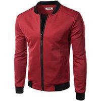 Wholesale Varsity Jacket Designs - Wholesale- New Wine Red Jacket Men 2016 Spring Fashion Design Mens Slim Fit Zipper Baseball Jacket Casual Brand College Varsity Jacket