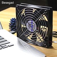 cojín de enfriamiento de la bola al por mayor-Besegad USB 1500RPM Ventilador de refrigeración con luz azul LED para TV Box Router Play Station PC Ordenador portátil 120 * 120 * 25 mm