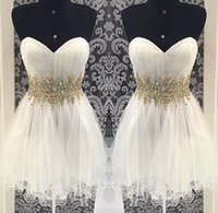 Piccoli bianchi vestiti da ritorno a casa Short White 2018 Sweetheart Gold Beaded Organza Sweet 15 party da cocktail BA6973