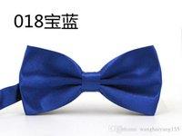 Wholesale Ems Bow Tie - HOT SALE Formal commercial bow tie male solid color marriage bow ties for men MULTI color butterfly cravat bow tie EMS free shipping HY946