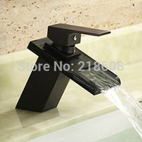 Wholesale Bathroom Waterfall Wall Spout - Wholesale- Vessel sink faucets oil rubbed bronze bathroom faucet waterfall mixer tap black single handle glass spout