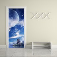Wholesale Fantasy Home Decor - 77*200cm 3D Fantasy Planet Door Mural Sticker 3D Heavenly Body Island Fairyland Door Mural Decal Home Decor for Living Kids Room
