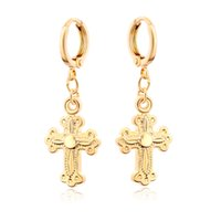 Wholesale 18k Yellow Gold Cross - New 18K Yellow Gold Plated Christian Jesus Cross Hoop Earrings Fashion Jewelry Best Gift for Women