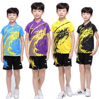Wholesale Tennis Suits Girls - New Children Li-Ning badminton wear suits,boys and girls table tennis t-shirt + shorts.tennis pingpong shirt sport shorts tainnning clothing