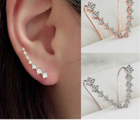 Wholesale Gold Plated Ear Hook - Earrings For Women Gift New Fashion Rhinestone Gold Silver Crystal Earrings Ear Hook Jewelry Stud Earrings