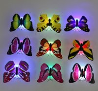 Wholesale Led Butterfly Tree - Lovely Creative Color Changing ABS Butterfly LED Night Lights Lamp Beautiful Home Decorative Wall Nightlights Random 10PCS