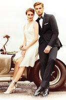 Wholesale White Tuxedo Pant Suit Women - 2016 Mens Suits Two Buttons Wedding Tuxedos for Women Notched Lapel Groom Tuxedos Custom Made(Coat+Pants)