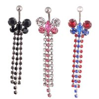 Wholesale pierced navel belly chains resale online - Butterfly Flower crystal Chain Navel Ring Sexy Fashion Women Girls Body Jewelry Piercing Ombligo Belly Button Rings