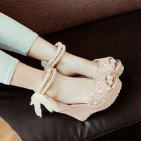 Wholesale Rubber Beads Fishing - Summer New A-word Bead Wedge Heel Sandals Female Buckle Strap Sweet Wedges Waterproof Women Sandals Fish Mouth Shoes Plus Size 34-43