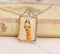 Wholesale Giraffe Draw - Yellow Deer Giraffe Pendant Necklaces Double Sided Square Giraffe Long Sweater Chain Hand Drawing Deer Chain