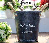 Wholesale Wholesale Vintage Vase - 5PCS-PACK Flower Pots Country Vintage Style Rustic Metal Garden Decor Bucket   Centerpiece Vase   Flower Holder Wholesale