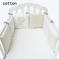 Wholesale Kids Cots - Hot Sale Infant Crib Bumper Bed Protector Baby Kids Cotton Cot Nursery bedding 6 pc plush bear bumper for boy and girl