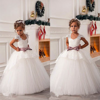 Discount child birthday dress fashion Fashion Flower Girl Dresses Vintage Jewel Sash Lace Net Baby Girl Birthday Party Christmas Communion Dresses Children Girl Party Dresses