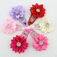 Wholesale Hairclip Hairpin - 60PCS 6 Colors Girl Flower Hairclip Rhinestone Mini Satin Flower Hair Clip Children Hairpins Diy Baby Girl Hair Accessories