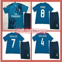 Wholesale Quick Delivery - New 2017 2018 blue soccer dress men's jersey SERGIO RAMOS BENZEMA RONALDO print name and number fast delivery