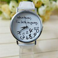 relógios de pulso bangles venda por atacado-Mulheres de couro essencial assistir Wathever estou atrasado de qualquer maneira carta feminino vestido de quartzo relógios de pulso pulseira