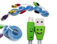 cable micro sonrisa al por mayor-1 M 3FT Cables planos LED visible Cable micro cargador USB V8 para Samsung Galaxy S7 Note 7 Datos Sonrisa Color Iluminar Flash que fluye