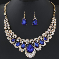 Wholesale bridal jewelry set blue - Jewelry Sets For Women Fine African Beads Gold Plated Bridal Crystal Pendants Necklace Earrings Set Wedding Jewelry Collier