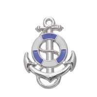 Wholesale Fishhook Necklace - My Shape White and Blue Anchor Fishhook Nautical Charm Zinc Alloy Rhodium Plated Charm For Necklace And Bracelet