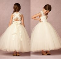 Wholesale Lovely Spaghetti Strap Ball Gown - 2016 Lovely Ball Gown Flower Girl Dresses Custom Sheer Lace Applique Strap Cute Champagne Backless Tulle Children Wedding Gowns Ankle Length