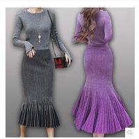 Wholesale Designer Women Skirt - HIGH QUALITY New 2017 Fashion Designer Runway Suit Set Women's Knitting Sweater Gradient Color Mermaid Skirt Set