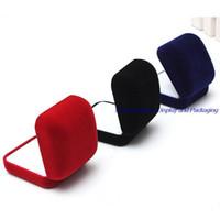 jóias azul preto venda por atacado-Atacado 24 pçs / lote Preto / Vermelho / Azul 3 Cor Disponível Bloqueado Anel De Jóias De Casamento Brinco Caixa De Armazenamento De Embalagem de Presente Caixa de Jóias Caixa de Embalagem