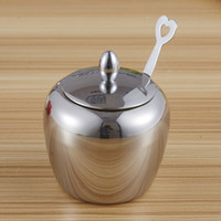Wholesale Stainless Sugar Bowls - Apple-shape Sugar Bowl Stainless Steel Seasoning Jar Kitchen Condiments Pot Spice Container with Lid and Spoon