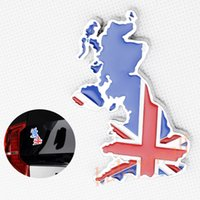 Wholesale Uk Decals Stickers - Universal Auto Accessories Chrome Trim 3D Map UK England Logo Emblem Badge Decal Sticker Decorate