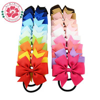 Wholesale Laced Hair Bows For Women - 8*8CM hot sale New Ribbon Hair Bow with Band for Girl and Woman Hair Accessories Elastic Hair Tie Rope Band 60pcs  lot