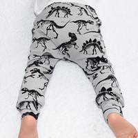 Wholesale Harem Pants For Baby Girls - Hot Autumn Winter Boys Girls Infant Baby PP Pants Cotton Dinosaur For Children Harem Pants Clothes New Fashion Child Clothing 12341