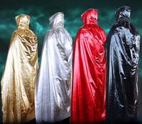 Wholesale Halloween Costume Wear - Cheap Halloween Costume Faux Fur Hooded Cloaks Women Men Colorful Halloween Wears Perfect For Winter Medieval Long Costumes