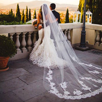 Wholesale Mantilla Cathedral Length Veil - 2016 Elegant New One Layer 3 Meters Mantilla Cathedral Veil With Gorgeous White Ivory Lace Wedding Veils Long Tulle Bridal Veils With Comb