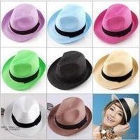 mélanger les chapeaux radin achat en gros de-Gros pas cher Panama paille chapeaux protection solaire 15 couleurs mixtes Vogue doux Stingy Brim Chapeaux Couleurs Choisir navire gratuit